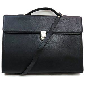 Auth Burberry Briefcase Black Leather #3404B10